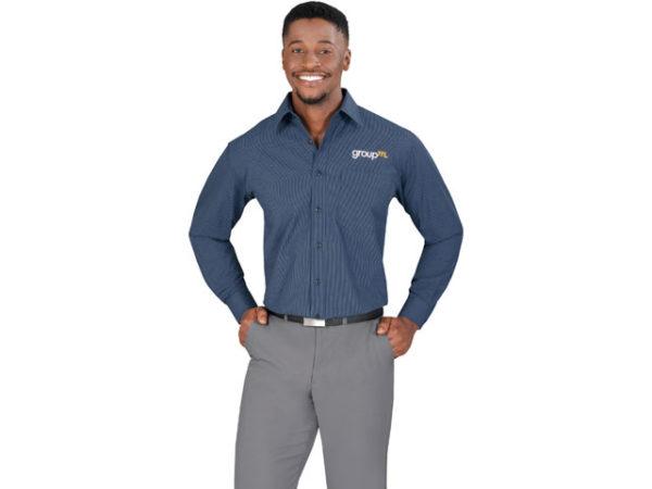 Micro Check Long Sleeve Mens Shirt