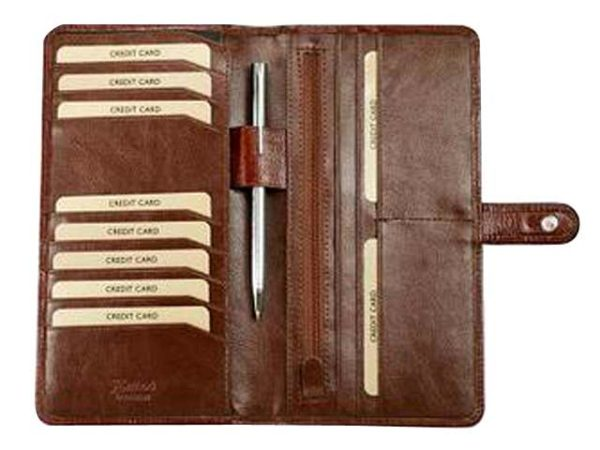 Travel Wallet with Tab - Italian Leather     Black; Brown