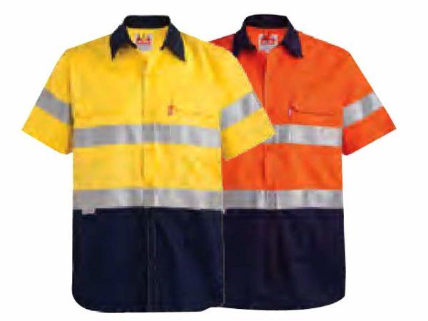 Two Tone Short Sleeve Reflective Work Shirt